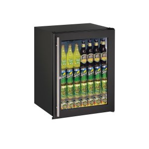 "U-LineAda Series 24"" Ada Glass Door Refrigerator With Black Frame (lock) Finish and Field Reversible Door Swing (115 Volts / 60 Hz)"