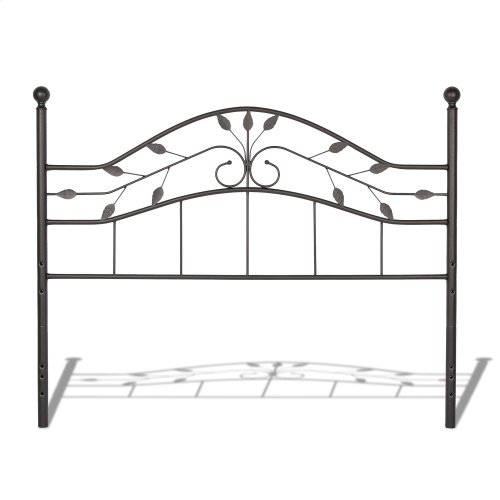 Sycamore Headboard with Arched Metal Panel and Leaf Pattern Design, Hammered Copper Finish, Twin