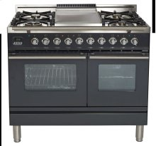 "40"" - 5 Burner, Double Oven w/ Griddle in Matte Graphite"
