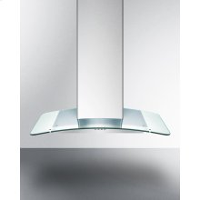 """36"""" European 650 Cfm Range Hood In Stainless Steel With A Tempered Glass Canopy"""
