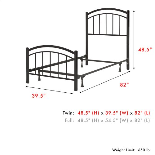Rylan Fashion Kids Complete Metal Bed and Steel Support Frame with Gently Arced Panels and Vertical Spindles, Black Ink Finish, Twin