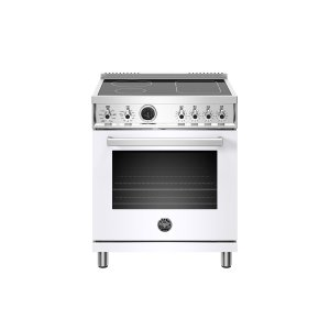 Bertazzoni30 inch Induction Range, 4 Heating Zones, Electric Self-Clean Oven Bianco