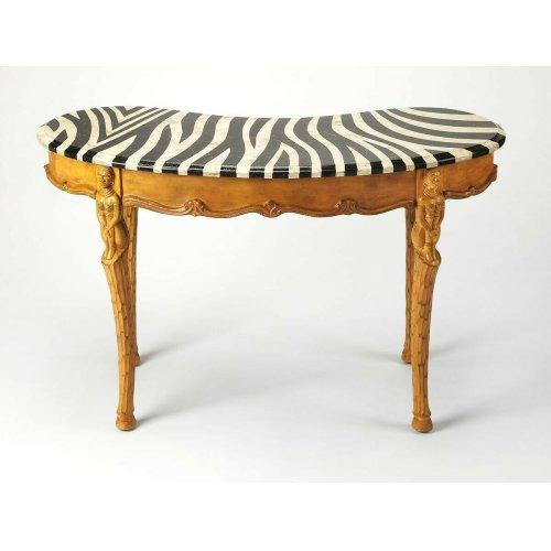Selected solids, veneers and resin components. Zebra skin design fossil stone veneer top. Working drawer.