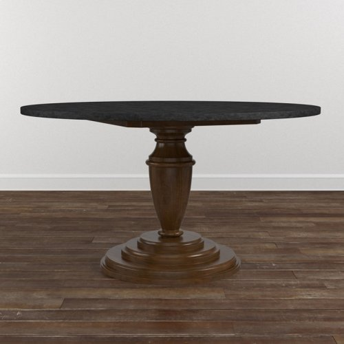 "Custom Dining 54"" Turned Ped. Stone Table"