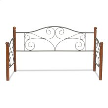 Doral Metal Daybed Frame with Scrolled Spindle Panels and Walnut Colored Wood Finial Posts, Matte Black Finish, Twin