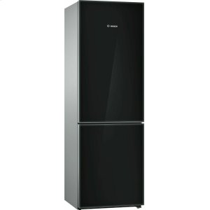 Bosch800 Series, Free-standing fridge-freezer-Black Glass Door