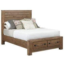 King Complete Storage Bed - Caramel Finish