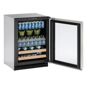 "U-Line24"" Beverage Center With Stainless Frame Finish and Field Reversible Door Swing (115 V/60 Hz Volts /60 Hz Hz)"