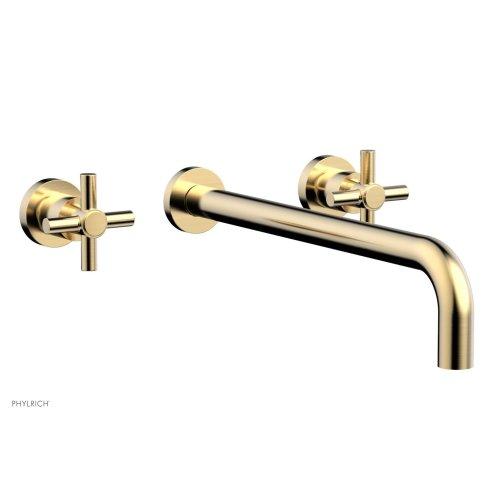 "Basic Wall Tub Set 14"" Spout - Tubular Cross Handles D1134-14 - Satin Brass"