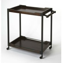 Convert any space into a hip, urban cocktail bar with this sleek industrial bar cart. Its black finished iron frame supports a solid mango wood top and bottom shelf that are lavishly finished in a dark brown walnut stain with light distressing. Its matchi