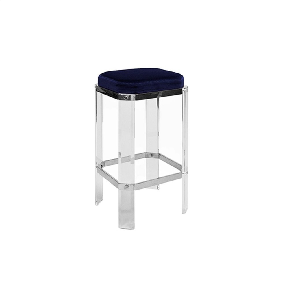 Acrylic Counter Stool With Nickel Accents & Navy Velvet Cushion