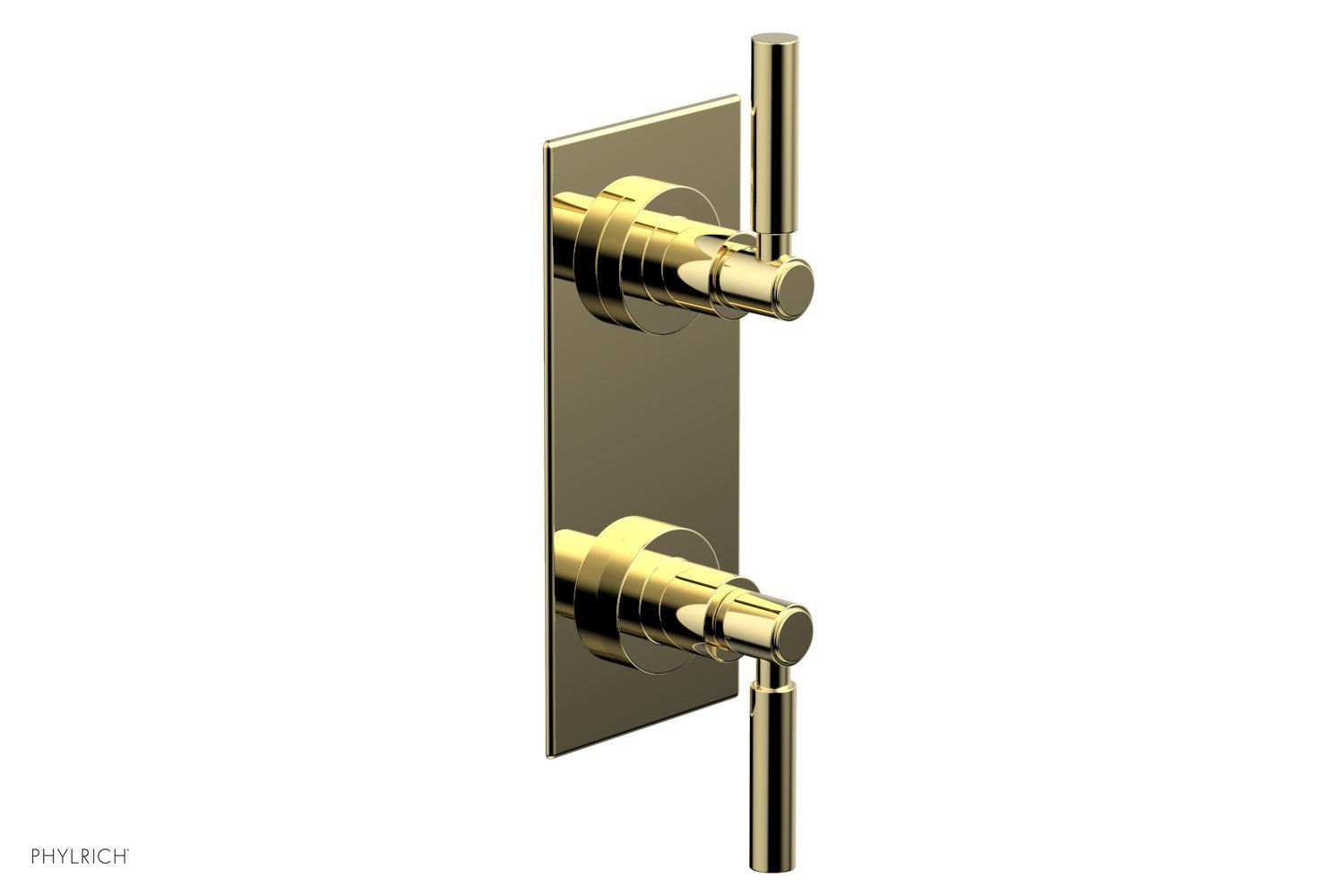 """BASIC 1/2"""" Thermostatic Valve with Volume Control or Diverter Lever Handles 4-344 - Polished Brass"""