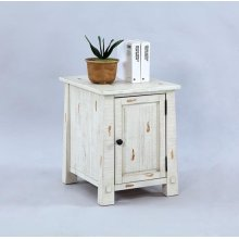 Chairside Cabinet - Distressed White Finish