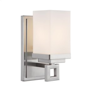 Nelio 1 Light Bath Vanity in Pewter with Cased Opal Glass