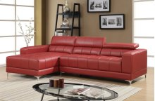 Samuel Red Bonded Leather Sectional
