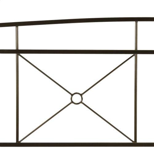 Russett Metal Headboard Panels with Modest Sloping Top Rail, Liquid Bronze Finish, King
