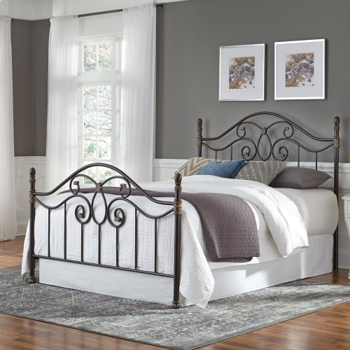 Evanston Metal Headboard and Footboard Bed Panels with Camelback Arches and Soft Gold Highlighted Castings, Blackened Copper Finish, King