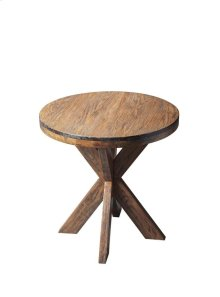 This contemporary accent table is uniquely appointed with a solid hardwood four-legged double X Hand crafted from select hardwood solids and wood products, it features birch veneers on the top and along the apron with a distressed, yet inviting Praline f