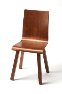 A refined take on a mid-century modern chair , this side chair with a curvy silhouette and rich walnut-veneer finish bring easy elegance to the dining room, entry or craftroom
