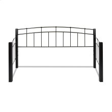 Scottsdale Metal Daybed with Dark Espresso Wooden Posts and Sloping Back and Side Panel Rails, Black Speckle Finish, Twin