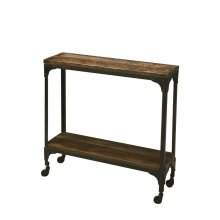Hand-crafted from iron and solid acacia wood, this rustic console table on casters offers a moveable feast of style and convenience with tabletop display and a matching lower display shelf. Its black iron frame and burnt umber wood finish complement each