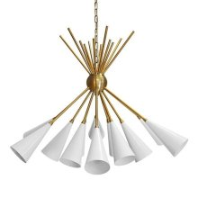 Twelve Light Cluster Chandelier In Antique Brass With Matte White Shade