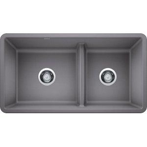 Blanco Precis Reversible 1-3/4 Bowl With Low Divide - Metallic Gray