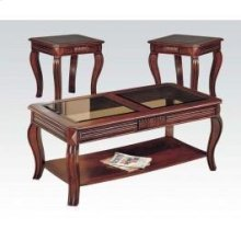 Cherry 3pc C/e Table W/gl Top