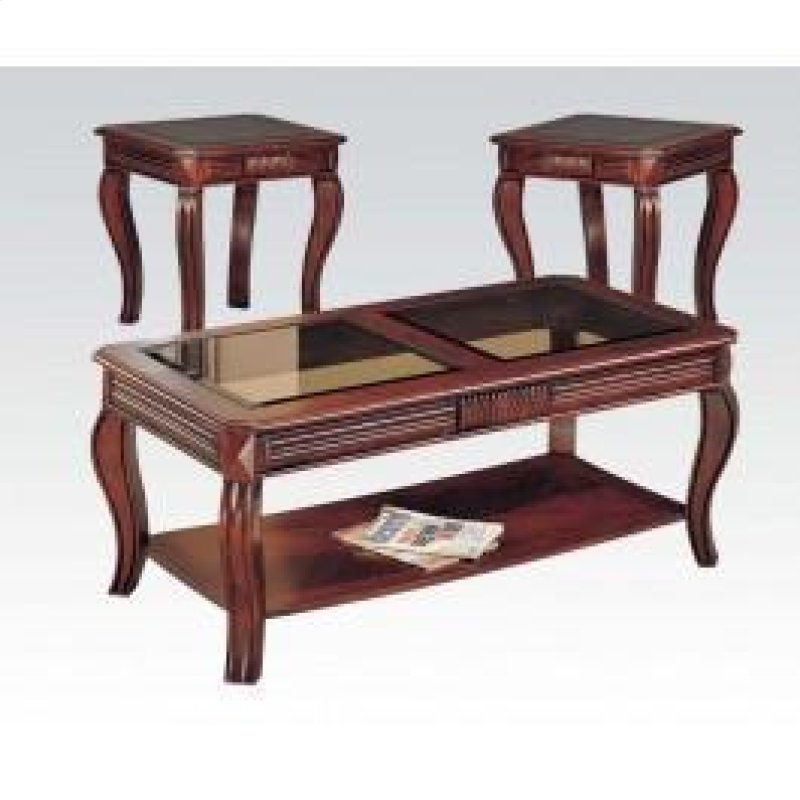 Cherry 3pc C E Table W Gl Top