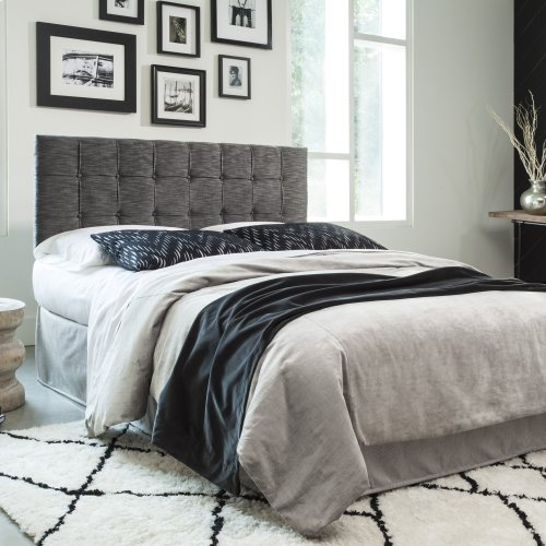 La Brea Button-Tuft Upholstered Headboard with Adjustable Height, Carbon Black Finish, King / California King