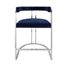 Barrel Back Nickel Base Counter Stool In Navy Velvet