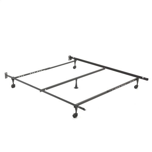 """Deluxe Promotional Adjustable Bed Frame Q84R with Fixed Headboard Brackets and (4) 2"""" Locking Rug Rollers, Twin - Queen"""