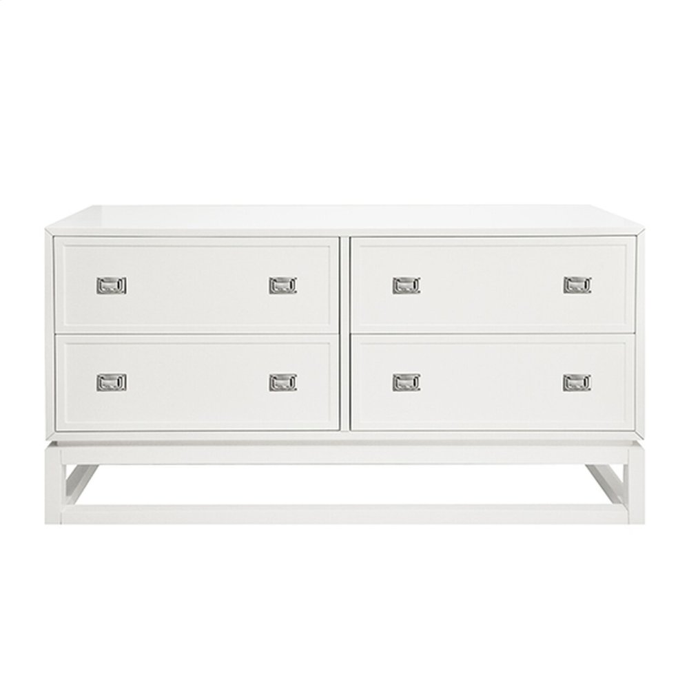 4 Drawer Matte White Lacquer Dresser With Nickel Campaign Hardware