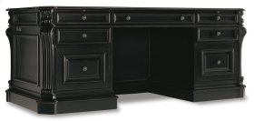 """Home Office Telluride 76"""" Executive Desk w/Leather Panels"""