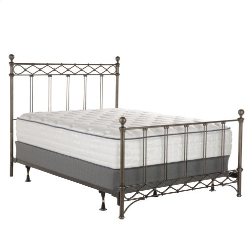 Argyle Complete Metal Bed and Steel Support Frame with Diamond Pattern Top Rail and Double Spindle Castings, Copper Chrome Finish, King