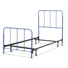 Nolan Fashion Kids Complete Metal Bed and Steel Support Frame with Fun Versatile Design, Cobalt Blue Finish, Twin