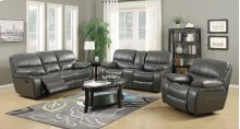 Banner Gray Leather Gel Reclining Loveseat
