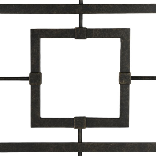 Sheridan Bed with Squared Metal Tubing and Geometric Design, Blackened Bronze Finish, California King