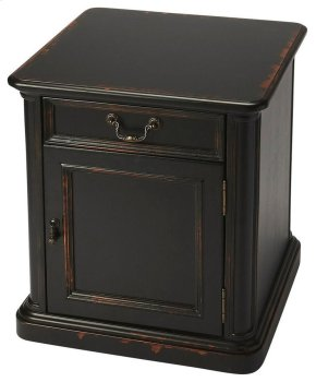 This table is highly functional with its pull out drawer and extra storage door, great for tucking away any gadgets or books. Hand crafted from poplar hardwood solids and wood products, it boasts cherry veneers covered in a one-of-a-kind Midnight Rose fin