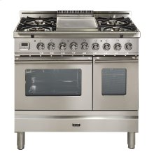 """36"""" - 5 Burner, Double Oven w/ Griddle in Stainless Steel"""