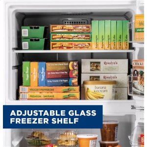 Adjustable glass freezer shelf