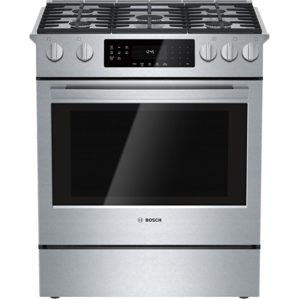 5 Burners With Btu S Up To 18 000 And A Pure Convection Oven Are The Highlights Of This Range Bosch Has Good Styling Whole Package Rebates 10 When
