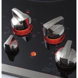 Red LED backlit knobs with black glass surface