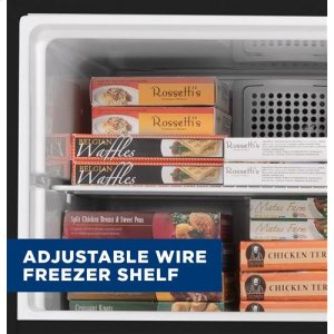 Adjustable wire freezer shelf