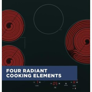 Four radiant cooking elements