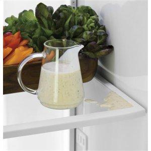 Adjustable spillproof glass shelves