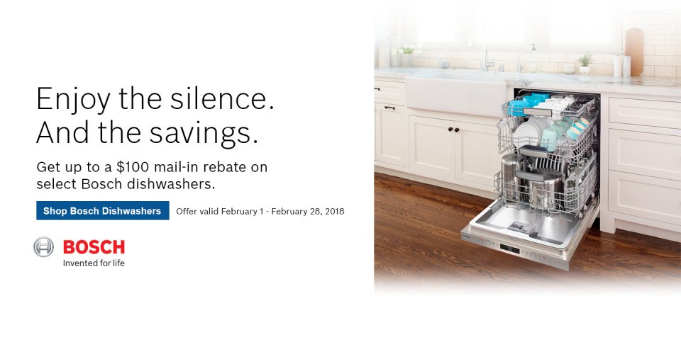 Bosch Dishwasher Rebate Feb 2018