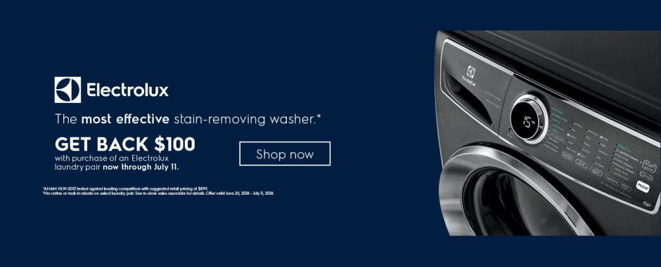 Electrolux $100 Laundry Pair Rebate June 2018