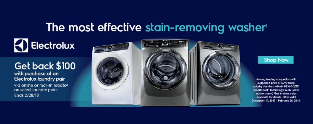 Electrolux $100 Laundry Pair Rebate Feb 2018