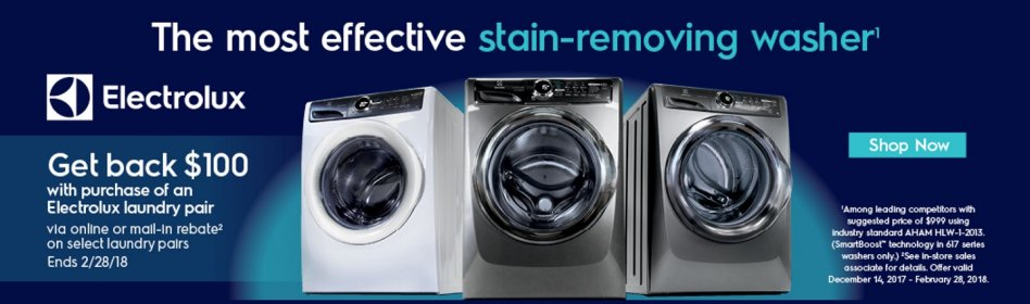 Electrolux $100 Laundry Pair Rebate Feb 2018